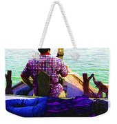 Lady Sleeping While Boatman Steers Weekender Tote Bag