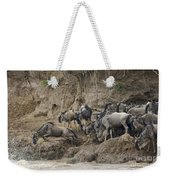 Wildebeests Crossing Mara River, Kenya Weekender Tote Bag