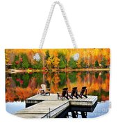 Wooden Dock On Autumn Lake Weekender Tote Bag