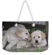 Yellow Labrador Retriever Puppies Weekender Tote Bag by Linda Freshwaters Arndt