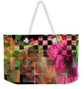 Abstract Checkered Pattern Fractal Flame Weekender Tote Bag