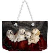 Festive Puppies Weekender Tote Bag by Angel  Tarantella