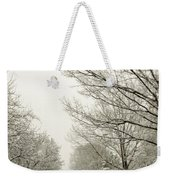 Snow Covered Road And Trees After Winter Storm Weekender Tote Bag