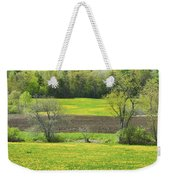 Spring Farm Landscape With Dandelion Bloom In Maine Weekender Tote Bag