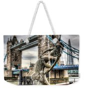 Tower Bridge And The Girl And Dolphin Statue Weekender Tote Bag