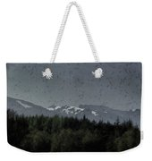 Treeline With Ice Capped Mountains In The Scottish Highlands Weekender Tote Bag