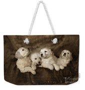 Vintage Festive Puppies Weekender Tote Bag by Angel  Tarantella