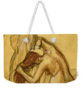 Woman Drying Herself Weekender Tote Bag