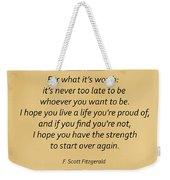 74- F. Scott Fitzgerald Weekender Tote Bag