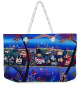 75th Anniversary Of Palm Beach, Florida Oil On Canvas Weekender Tote Bag