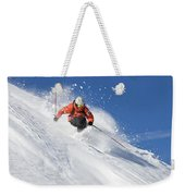 A Young Man Skis Untracked Powder Weekender Tote Bag