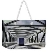 Blue Citylink Bus On A Metal Bridge In Scotland Weekender Tote Bag