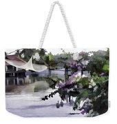 Ducks And Flowers In Lagoon Water Weekender Tote Bag