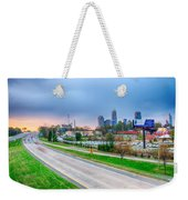 Early Morning Sunrise Over Charlotte City Skyline Downtown Weekender Tote Bag