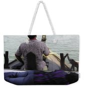 Lady Sleeping While Boatman Steers Weekender Tote Bag