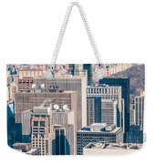 New York City Manhattan Midtown Aerial Panorama View With Skyscr Weekender Tote Bag