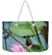 Pink Water Lily Pond Weekender Tote Bag