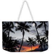 Silhouette Of Palm Trees At Dusk Weekender Tote Bag