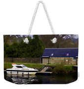 Small White Yacht In The Water Of The Caledonian Canal Weekender Tote Bag