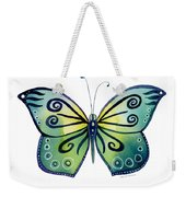 92 Teal Button Cap Butterfly Weekender Tote Bag by Amy Kirkpatrick