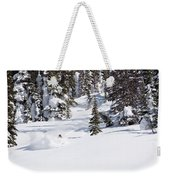 A Backcountry Skier A Turn Near Ymir Weekender Tote Bag