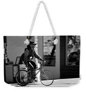 A Barefoot Cyclist With Beard And Hat In San Francisco Weekender Tote Bag by RicardMN Photography