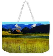 A Barn And Field In The Morning Weekender Tote Bag