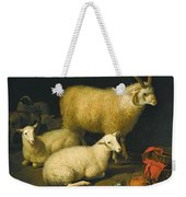 A Barn Interior With A Four-horned Ram And Four Ewes And A Goat Weekender Tote Bag