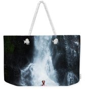 A Beautiful Young Woman Sitting Weekender Tote Bag
