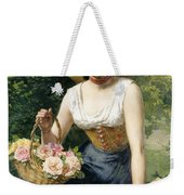 A Beauty Holding A Basket Of Roses Weekender Tote Bag