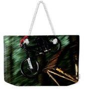 A Biker Rides His Mountain Bike Weekender Tote Bag