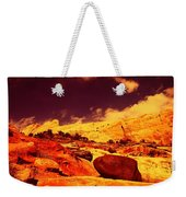 A Black Rock And Blue Sky Weekender Tote Bag