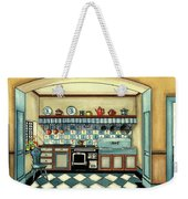 A Blue Kitchen With A Tiled Floor Weekender Tote Bag