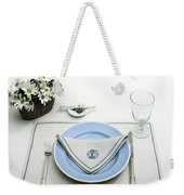 A Blue Table Setting Weekender Tote Bag