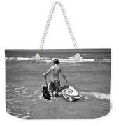 A Boy And His Dog Go Surfing Weekender Tote Bag