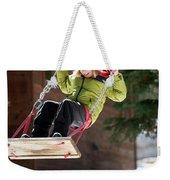 A Boy Plays Outside In Lake Tahoe Weekender Tote Bag
