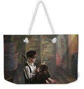 A Boy Posed Reading Old Books Victoria Weekender Tote Bag