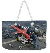 A Bqm-74e Drone Is Prepared For Launch Weekender Tote Bag