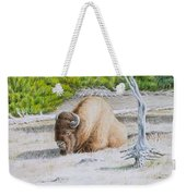A Buffalo Sits In Yellowstone Weekender Tote Bag by Michele Myers