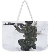 A Bulgarian Soldier Aims Down The Sight Weekender Tote Bag