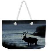 A Bull Elk Crosses The Madison In The Early Morning  Weekender Tote Bag