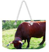 A Bull  Grazing On The Meadow Weekender Tote Bag