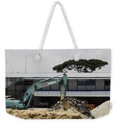 A Bulldozer Moving Dug Out Concrete And Fresh Earth Below The Concrete Weekender Tote Bag