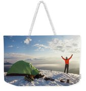 A Camper Lifts His Hand In The Air Weekender Tote Bag