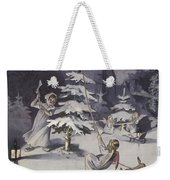 A Cherub Wields An Axe As They Chop Down A Christmas Tree Weekender Tote Bag
