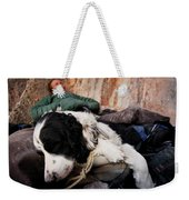 A Climber And Her Dog Lay Weekender Tote Bag