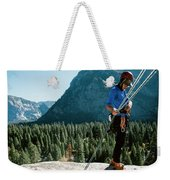 A Climber At The Top Of Pitch 3 On Swan Weekender Tote Bag