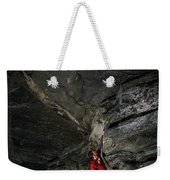 A Climber On A Rock Face Weekender Tote Bag