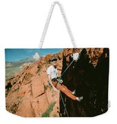 A Climber On Panty Wall In Red Rock Weekender Tote Bag