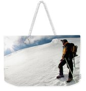 A Climber On The Glacier Of Cotopaxi Weekender Tote Bag